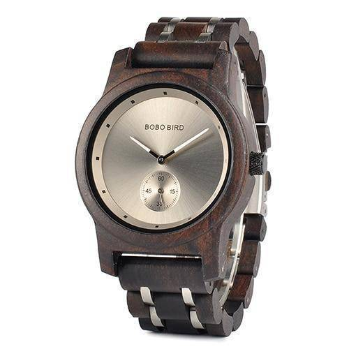 Wood and Metal Strap Watch, Quartz Watch in Wood Box Jewelry & Watches Gadget Monkey Black - Men