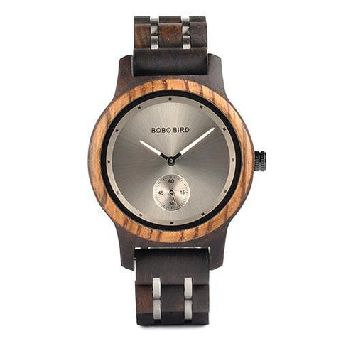 Image of Wood and Metal Strap Watch, Quartz Watch in Wood Box Jewelry & Watches Gadget Monkey Black - Women