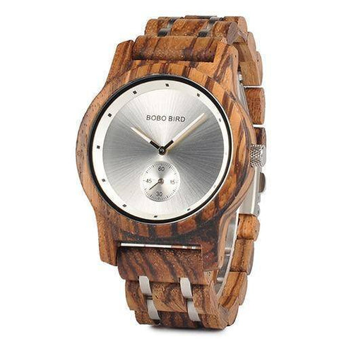 Wood and Metal Strap Watch, Quartz Watch in Wood Box Jewelry & Watches Gadget Monkey Zebra - Men