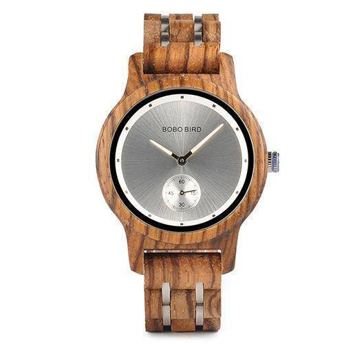 Wood and Metal Strap Watch, Quartz Watch in Wood Box Jewelry & Watches Gadget Monkey Zebra - Women