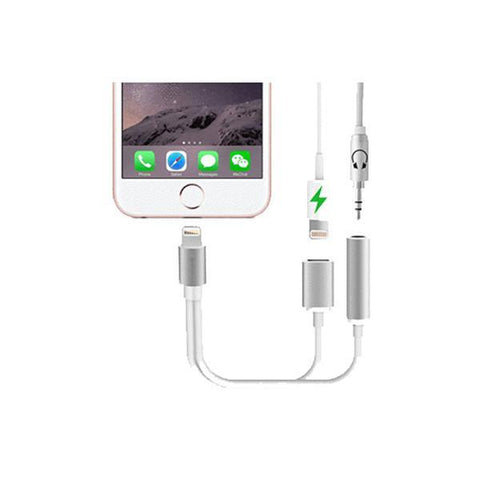 Image of 2 in 1 Headphone & Lightning Adapter for iPhone Tech Accessories Gadget Monkey White