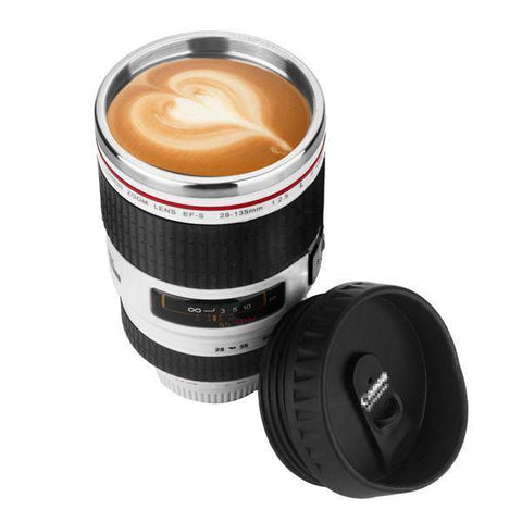 Image of Stainless Steel Travel Coffee Mug for Photographers Home & Garden Gadget Monkey White