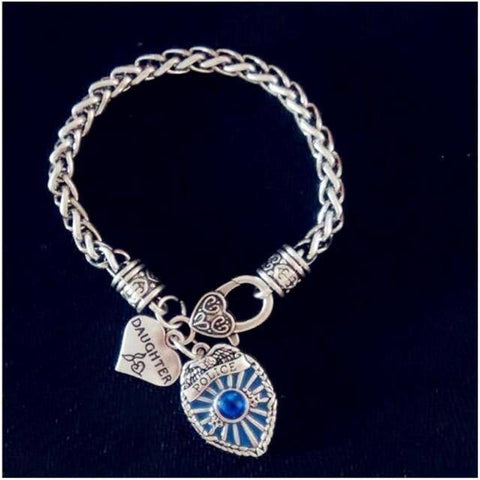 Image of Police Badge Charm Bracelet - First Responder Jewelry & Watches Gadget Monkey Daughter