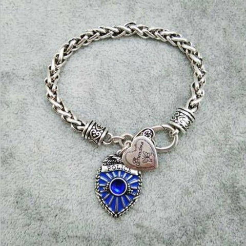 Image of Police Badge Charm Bracelet - First Responder Jewelry & Watches Gadget Monkey Grandma