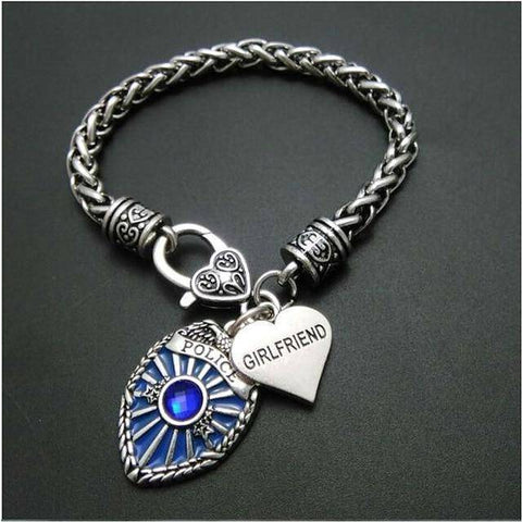 Image of Police Badge Charm Bracelet - First Responder Jewelry & Watches Gadget Monkey Girlfriend