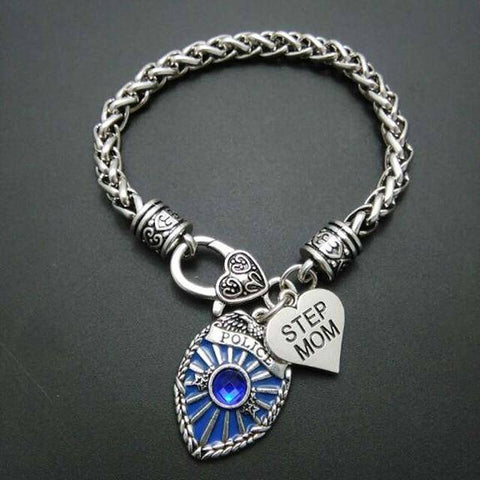 Image of Police Badge Charm Bracelet - First Responder Jewelry & Watches Gadget Monkey Step Mom
