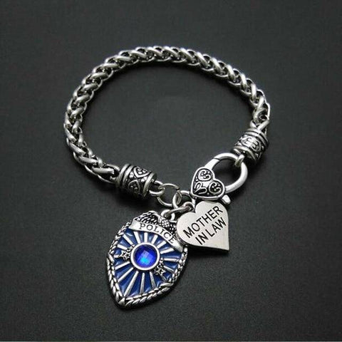 Image of Police Badge Charm Bracelet - First Responder Jewelry & Watches Gadget Monkey Mother in Law