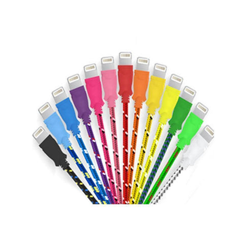 10 Ft Braided Cloth Lightning Cable for iPhone - Assorted Colors Tech Accessories Gadget Monkey