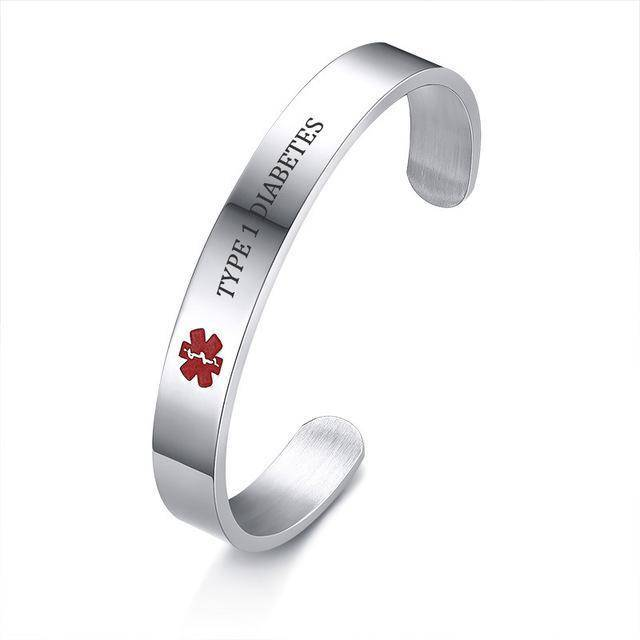 Diabetic Medical Alert Bracelet - Stainless Steel - Type 1 and Type 2 Diabetes Health & Beauty Gadget Monkey Type 1 Diabetes