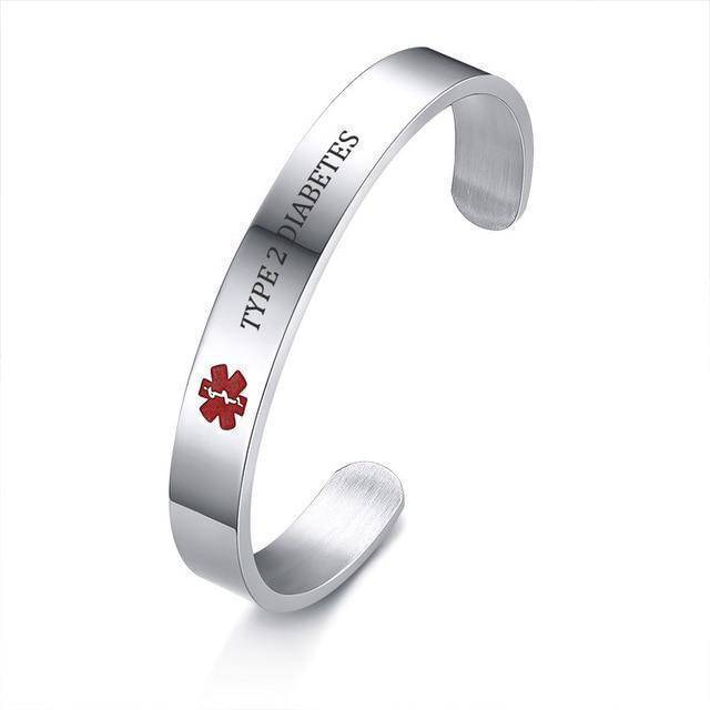 Diabetic Medical Alert Bracelet - Stainless Steel - Type 1 and Type 2 Diabetes Health & Beauty Gadget Monkey Type 2 Diabetes