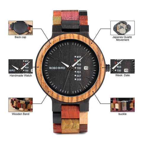 Mens Wooden Watch With Week Date Display in Wood Gift Box Jewelry & Watches Gadget Monkey