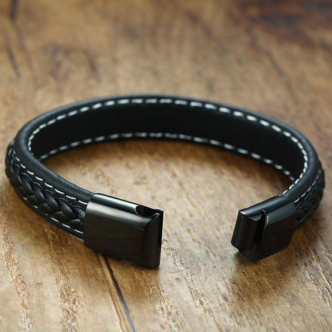 Image of Mens Diabetic Medical Alert ID Bracelet - Stitched Black Leather - For Type 1 and Type 2 Diabetes Health & Beauty Gadget Monkey