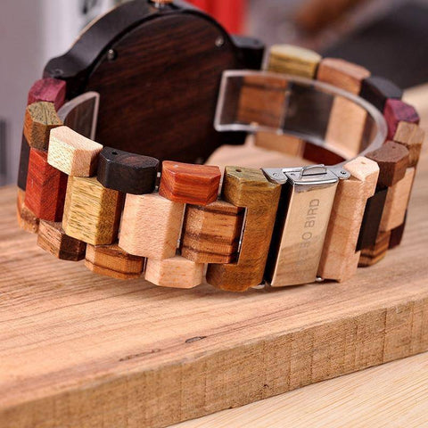 Image of Wooden Mens Watch Men Date Display in Wood Gift Box Jewelry & Watches Gadget Monkey