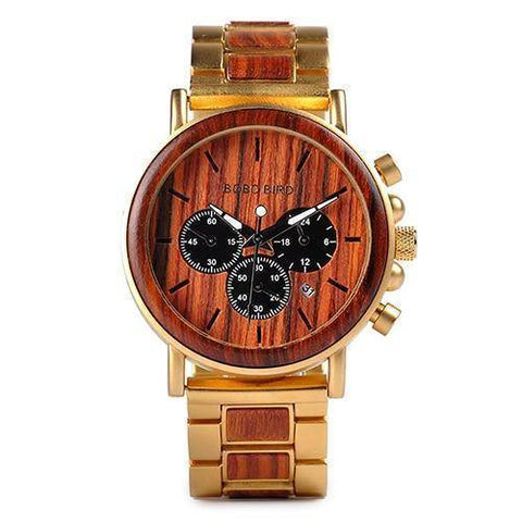 Wood and Stainless Steel Wooden Watch w/ Luminous Hands Mens Quartz Wristwatch Jewelry & Watches Gadget Monkey Golden