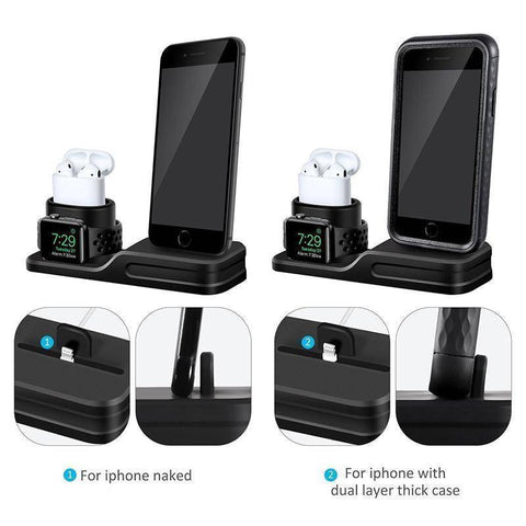 Image of 3 in 1 Charging Dock Holder For iPhone X 8 7 6 Silicone charging stand Dock Station For Apple Watch Airpods Tech Accessories Gadget Monkey