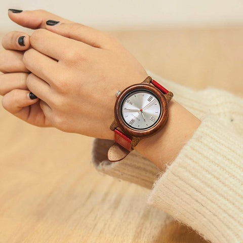 Womens Wooden Watch (Pink or Red) With Date Display Jewelry & Watches Gadget Monkey