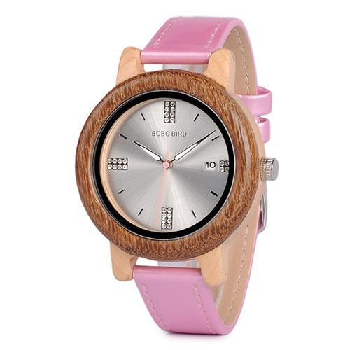 Womens Wooden Watch (Pink or Red) With Date Display Jewelry & Watches Gadget Monkey Pink