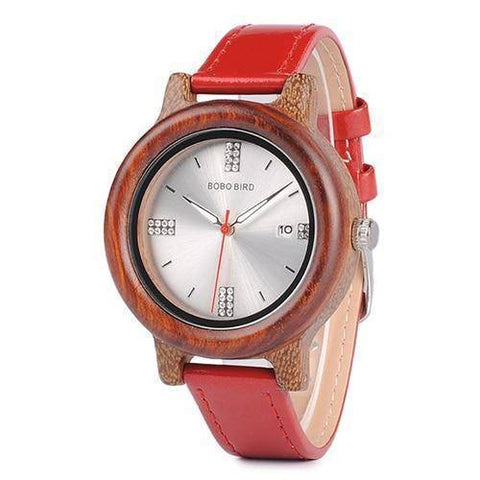 Womens Wooden Watch (Pink or Red) With Date Display Jewelry & Watches Gadget Monkey Red