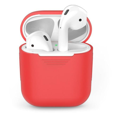 Image of Silicone Apple Airpod Case Protective Cover Accessories Charging Box Tech Accessories Gadget Monkey Red