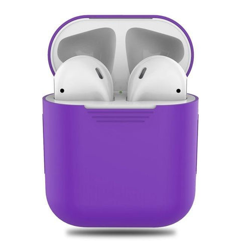 Image of Silicone Apple Airpod Case Protective Cover Accessories Charging Box Tech Accessories Gadget Monkey Purple
