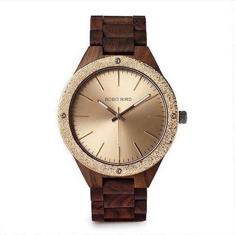 Image of Mens Quartz Wooden Wristwatches Watch in Beautiful Wood Gift Box Jewelry & Watches Gadget Monkey Champaign Gold
