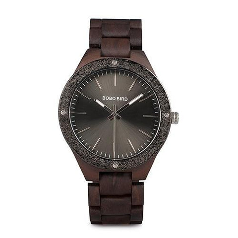 Image of Mens Quartz Wooden Wristwatches Watch in Beautiful Wood Gift Box Jewelry & Watches Gadget Monkey Space Gray
