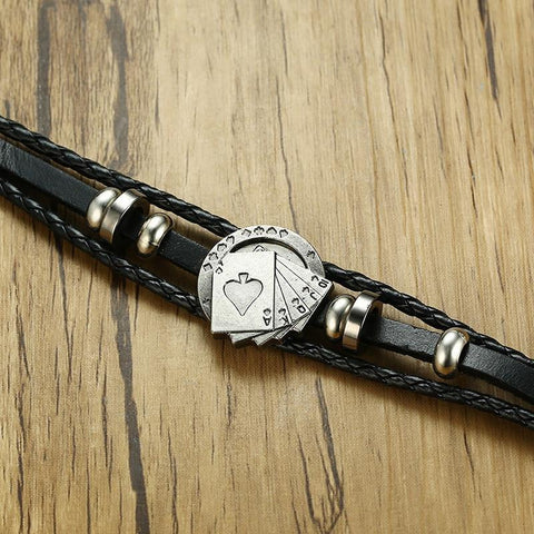 Vintage Men's Leather Bracelet - Poker/Playing Cards Jewelry & Watches Gadget Monkey
