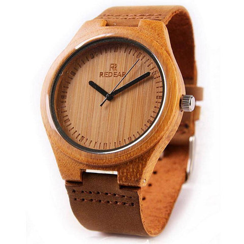 Image of Wooden Womens and Mens Watch With Leather Band Jewelry & Watches Gadget Monkey