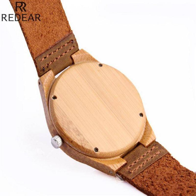 Wooden Womens and Mens Watch With Leather Band Jewelry & Watches Gadget Monkey