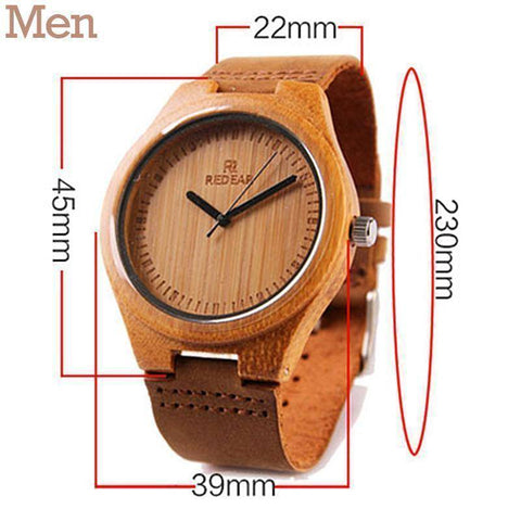 Image of Wooden Womens and Mens Watch With Leather Band Jewelry & Watches Gadget Monkey Men Light