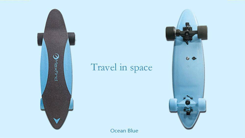 Maxfind Max C Penny Electric Skateboard With Wireless Remote Tech Accessories Gadget Monkey Ocean blue