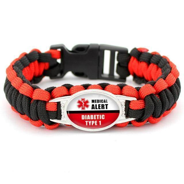 Diabetic Medical Alert Bracelet - Red/Black Braided Rope for Type 1 and Type 2 Diabetes Health & Beauty Gadget Monkey Type One