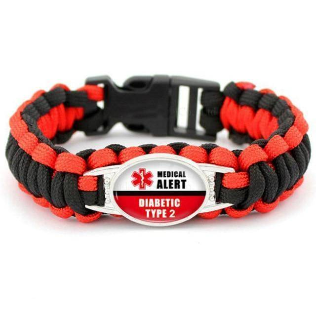 Diabetic Medical Alert Bracelet - Red/Black Braided Rope for Type 1 and Type 2 Diabetes Health & Beauty Gadget Monkey Diabetic
