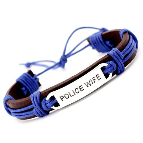 Image of Police Officer Support Bracelet - Leather Wrap Jewelry & Watches Gadget Monkey Wife
