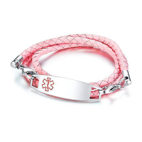 Kids Diabetic Medical Alert ID Bracelet - Triple Wrapped Leather For Type 1 & Type 2 Diabetes Health & Beauty Gadget Monkey Pink