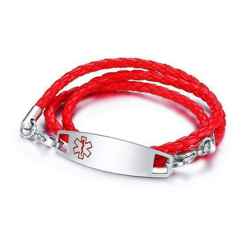 Kids Diabetic Medical Alert ID Bracelet - Triple Wrapped Leather For Type 1 & Type 2 Diabetes Health & Beauty Gadget Monkey Red