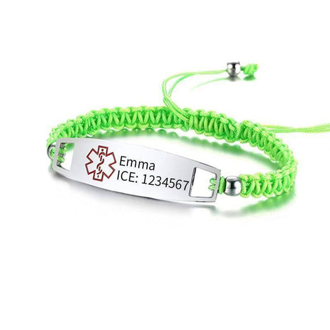 Diabetic Medical Alert ID Bracelet - Nylon Rope Braided Band for Diabetes Type 1 and Type 2 Health & Beauty Gadget Monkey