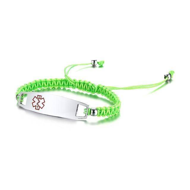 Diabetic Medical Alert ID Bracelet - Nylon Rope Braided Band for Diabetes Type 1 and Type 2 Health & Beauty Gadget Monkey Green