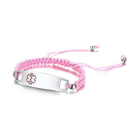 Diabetic Medical Alert ID Bracelet - Nylon Rope Braided Band for Diabetes Type 1 and Type 2 Health & Beauty Gadget Monkey Pink