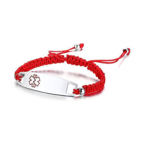 Diabetic Medical Alert ID Bracelet - Nylon Rope Braided Band for Diabetes Type 1 and Type 2 Health & Beauty Gadget Monkey Red
