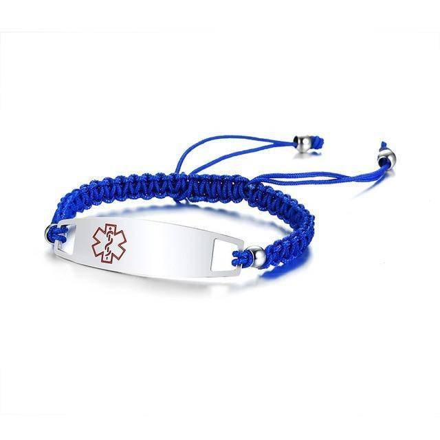 Diabetic Medical Alert ID Bracelet - Nylon Rope Braided Band for Diabetes Type 1 and Type 2 Health & Beauty Gadget Monkey Blue