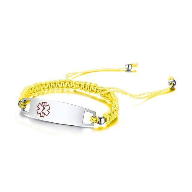 Diabetic Medical Alert ID Bracelet - Nylon Rope Braided Band for Diabetes Type 1 and Type 2 Health & Beauty Gadget Monkey Yellow