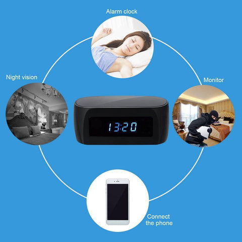Ultra Wide Angle Hidden Camera Alarm Clock | Night Vision and Motion Detection Tech Accessories Gadget Monkey