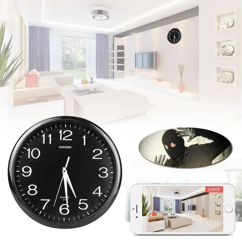 Hidden Camera Wall Clock - HD WiFi Video (Black) Home & Garden shopgadgetmonkey Default Title