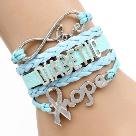 Image of Womens Diabetic Medical Alert ID Bracelet - For Type 1 and Type 2 Diabetes Health & Beauty Gadget Monkey Blue