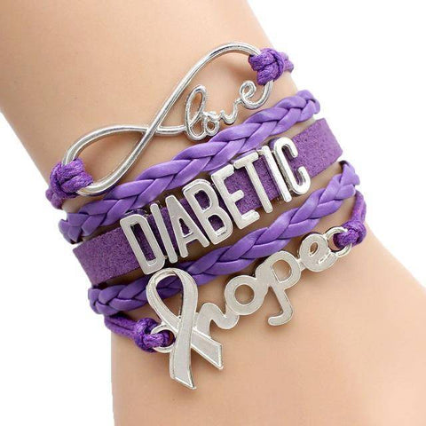 Image of Womens Diabetic Medical Alert ID Bracelet - For Type 1 and Type 2 Diabetes Health & Beauty Gadget Monkey Purple