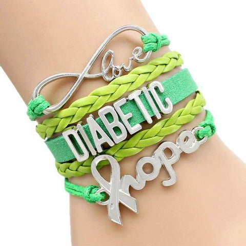 Image of Womens Diabetic Medical Alert ID Bracelet - For Type 1 and Type 2 Diabetes Health & Beauty Gadget Monkey Green