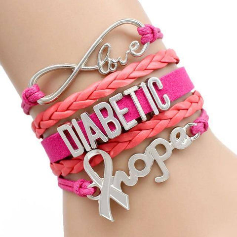 Image of Womens Diabetic Medical Alert ID Bracelet - For Type 1 and Type 2 Diabetes Health & Beauty Gadget Monkey Rose