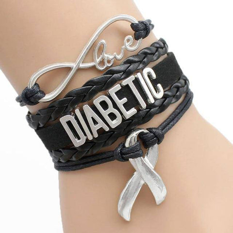 Womens Diabetic Medical Alert ID Bracelet - For Type 1 and Type 2 Diabetes Health & Beauty Gadget Monkey Black
