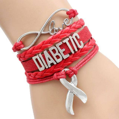 Image of Womens Diabetic Medical Alert ID Bracelet - For Type 1 and Type 2 Diabetes Health & Beauty Gadget Monkey Red